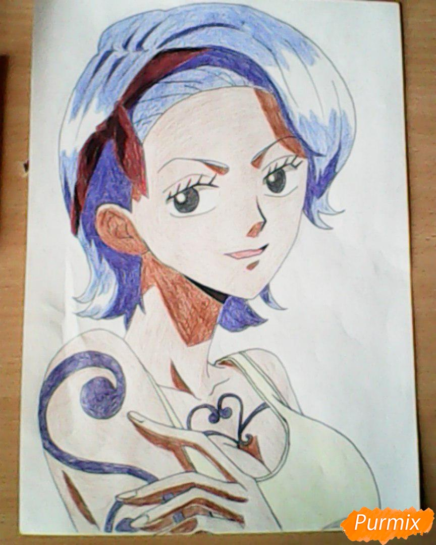 Рисуем и раскрасить портрет Ноджико из One Piece пошагово простым - шаг 26