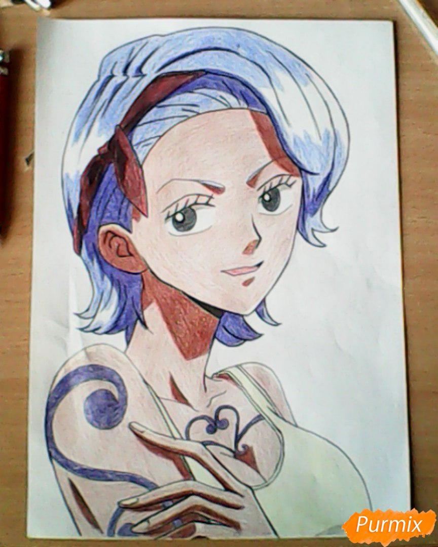Рисуем и раскрасить портрет Ноджико из One Piece пошагово простым - шаг 28