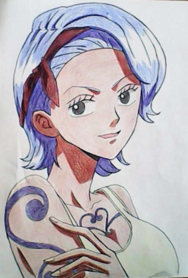 Как нарисовать и раскрасить портрет Ноджико из One Piece пошагово простым карандашом