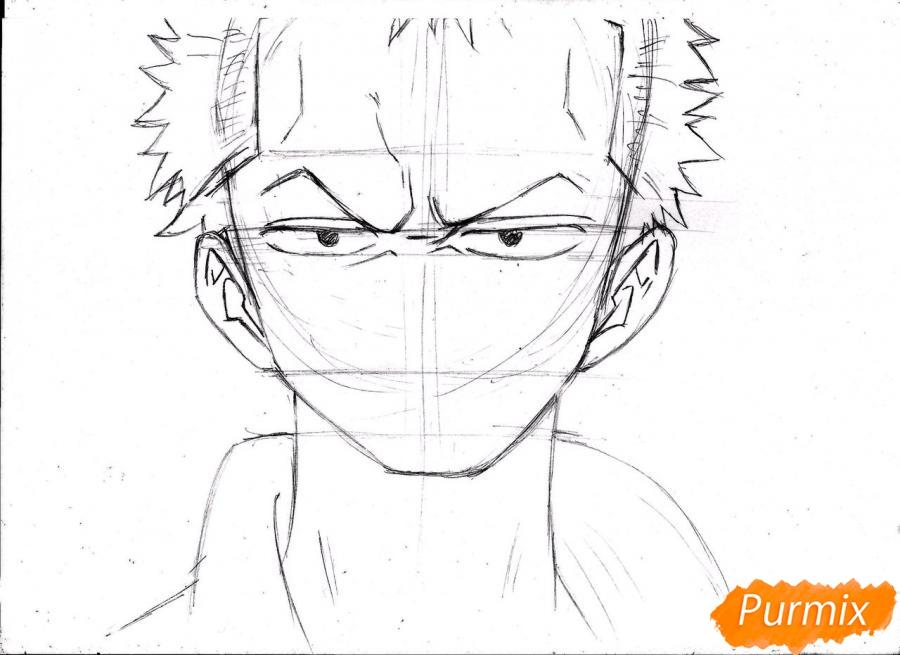 Рисуем портрет Ророноа Зоро из One Piece пошагово - шаг 12