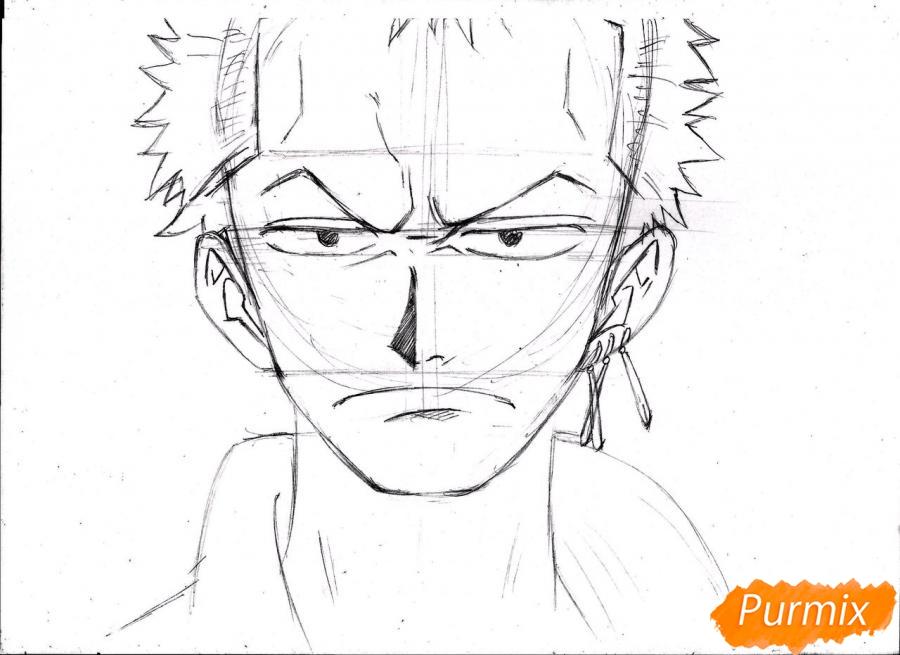 Рисуем портрет Ророноа Зоро из One Piece пошагово - шаг 15