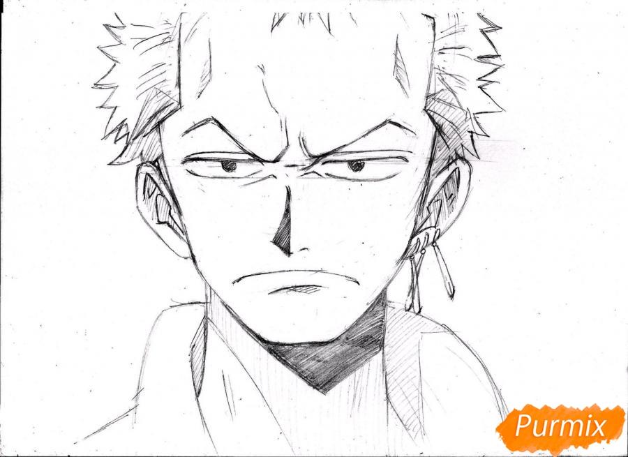 Как нарисовать портрет Ророноа Зоро из One Piece пошагово
