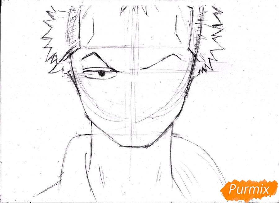 Рисуем портрет Ророноа Зоро из One Piece пошагово - шаг 9