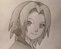 Фото портрет Сакуры из Наруто карандашом