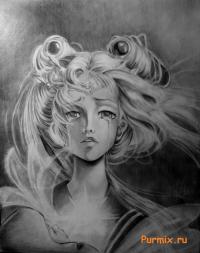 Рисунок портрет Сейлор Мун простым