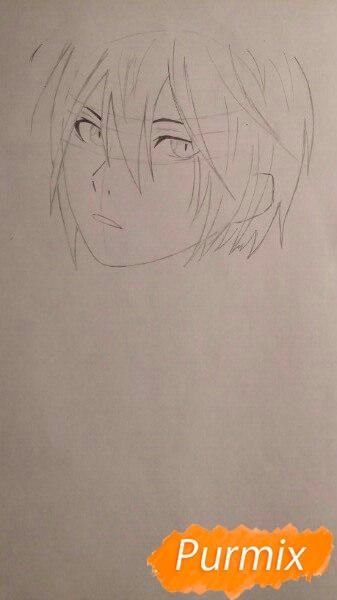 Рисуем портрет Ято из аниме Бездомный Бог карандашами - шаг 3