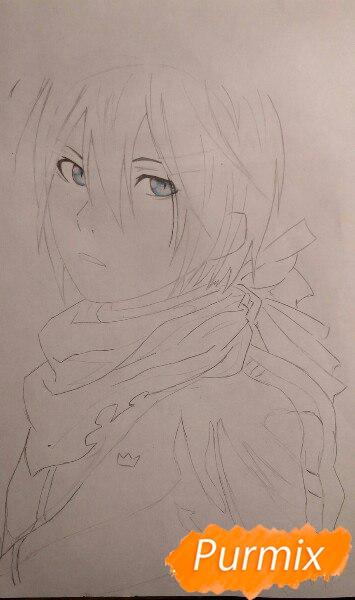 Рисуем портрет Ято из аниме Бездомный Бог карандашами - шаг 5