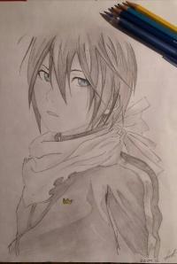 Рисунок портрет Ято из Бездомный Бог