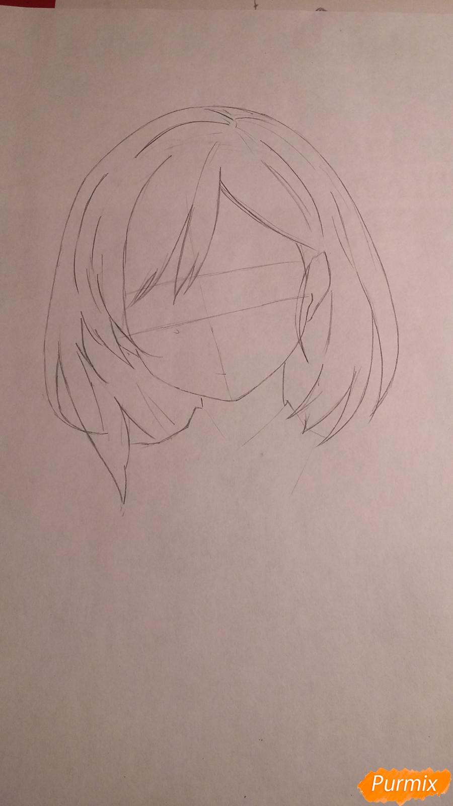 Как нарисовать протрет девушки в аниме стиле карандашом поэтапно - шаг 2