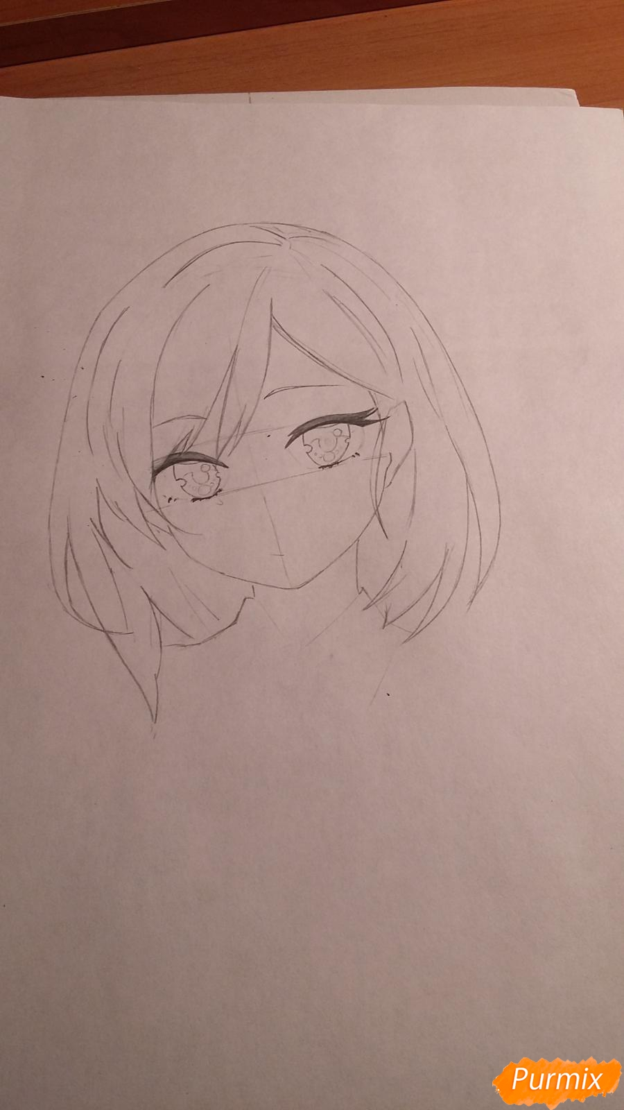 Как нарисовать протрет девушки в аниме стиле карандашом поэтапно - шаг 3