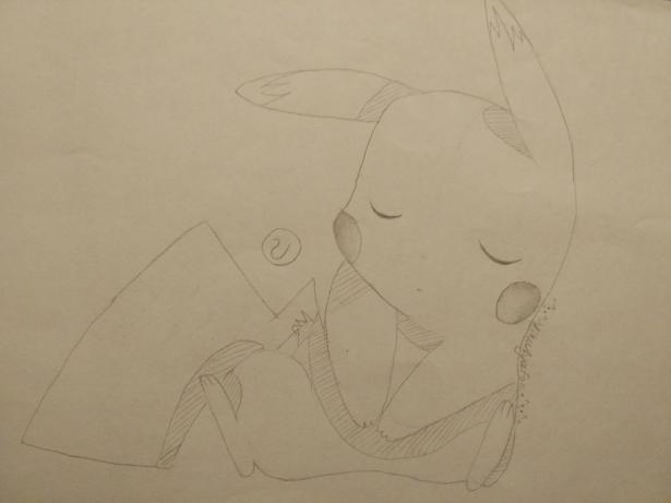 Рисуем раскрасить спящего Пикачу карандашами - шаг 4
