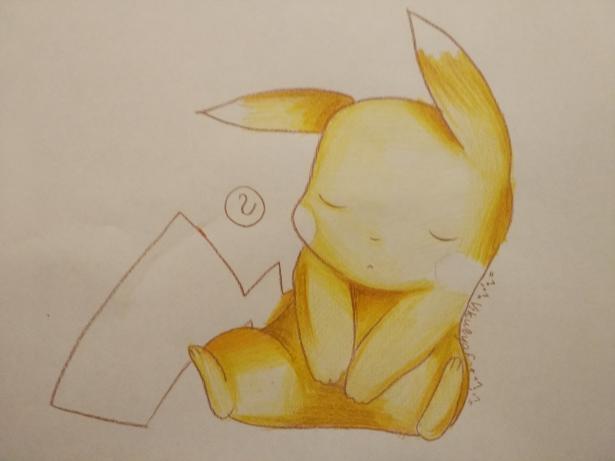 Рисуем раскрасить спящего Пикачу карандашами - шаг 7