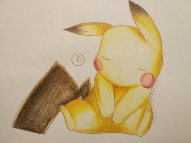 Рисуем раскрасить спящего Пикачу карандашами - шаг 8
