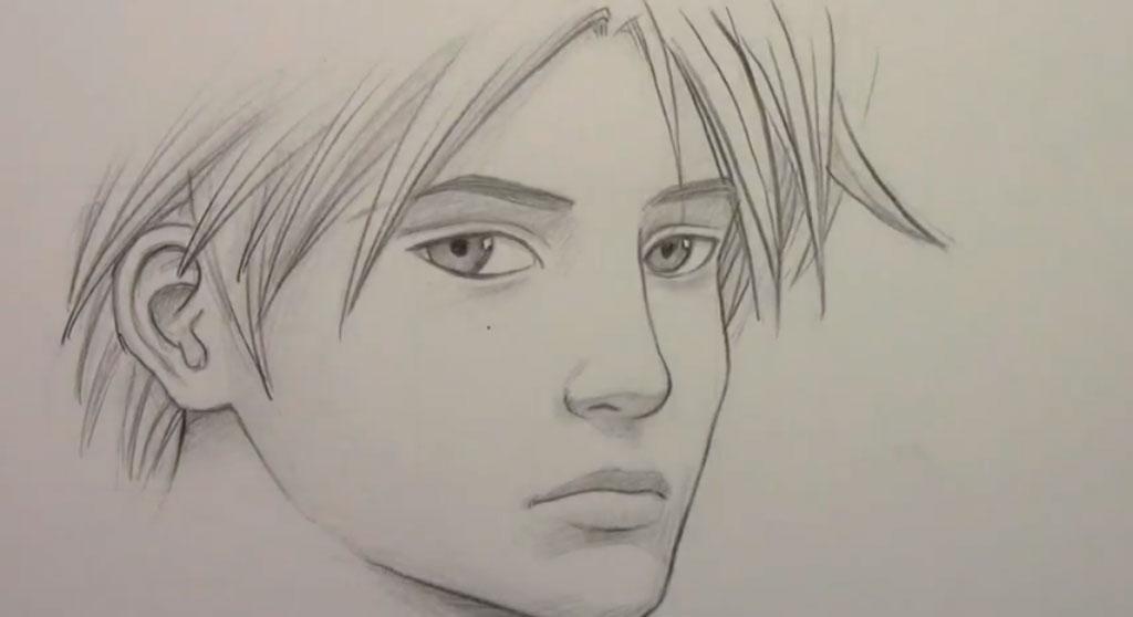 парня карандашом поэтапно