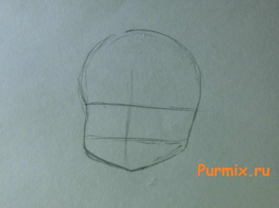 Как нарисовать Рейну в костюме продавца карандашами поэтапно - шаг 1