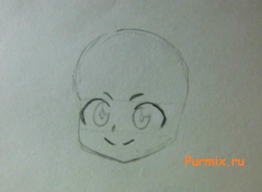 Как нарисовать Рейну в костюме продавца карандашами поэтапно - шаг 2