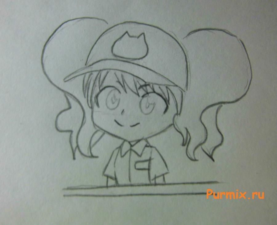 Как нарисовать Рейну в костюме продавца карандашами поэтапно - шаг 4