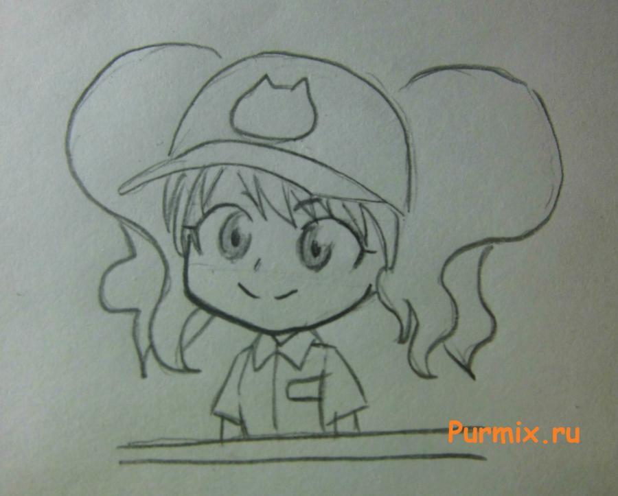 Как нарисовать Рейну в костюме продавца карандашами поэтапно - шаг 5