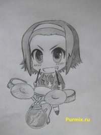 Фото Рицу Таинака из аниме K-on карандашом
