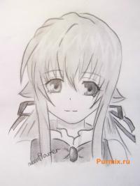 Фото Руру из аниме Монохромный фактор карандашом