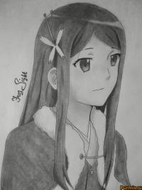 Саё из аниме Убийца Акаме простым карандашом