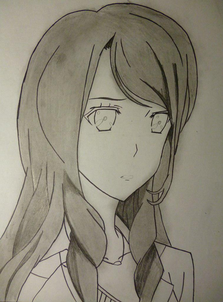 Как нарисовать Сакакибара Наоко из аниме Иная простым карандашом
