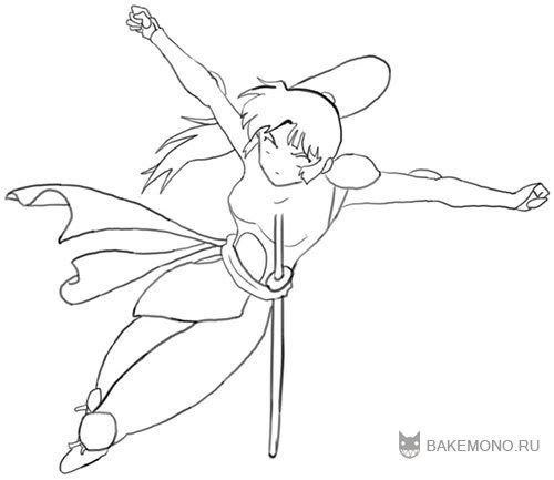 Как нарисовать Санго из Inuyasha карандашом поэтапно