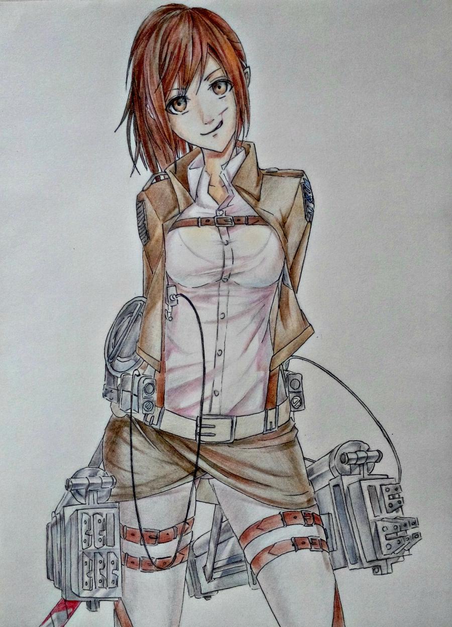 Рисуем Сашу Брауз из Атаки титанов цветными карандашами - шаг 11