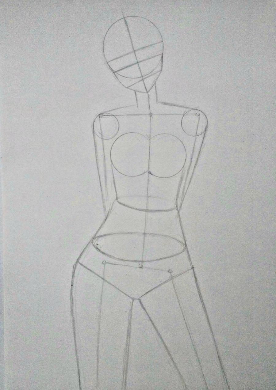 Рисуем Сашу Брауз из Атаки титанов цветными карандашами - шаг 2