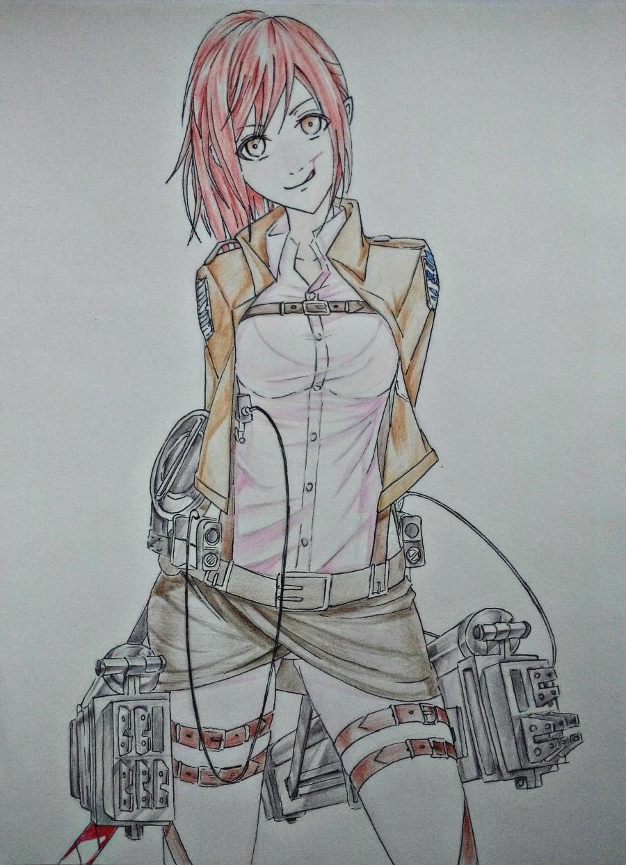 Рисуем Сашу Брауз из Атаки титанов цветными карандашами - шаг 8