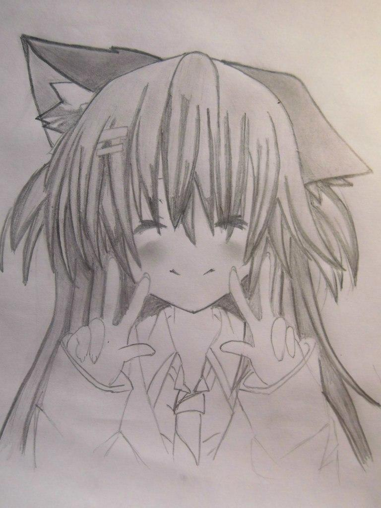 Рисуем счастливую аниме девушку