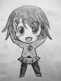 счастливую чиби девушку карандашом