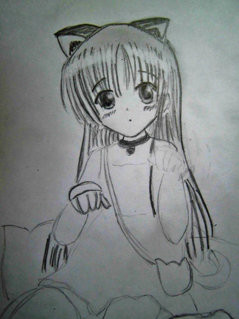 Как нарисовать сидящую аниме девочку на бумаге карандашом