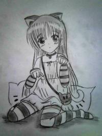 Рисуем девочку с котом