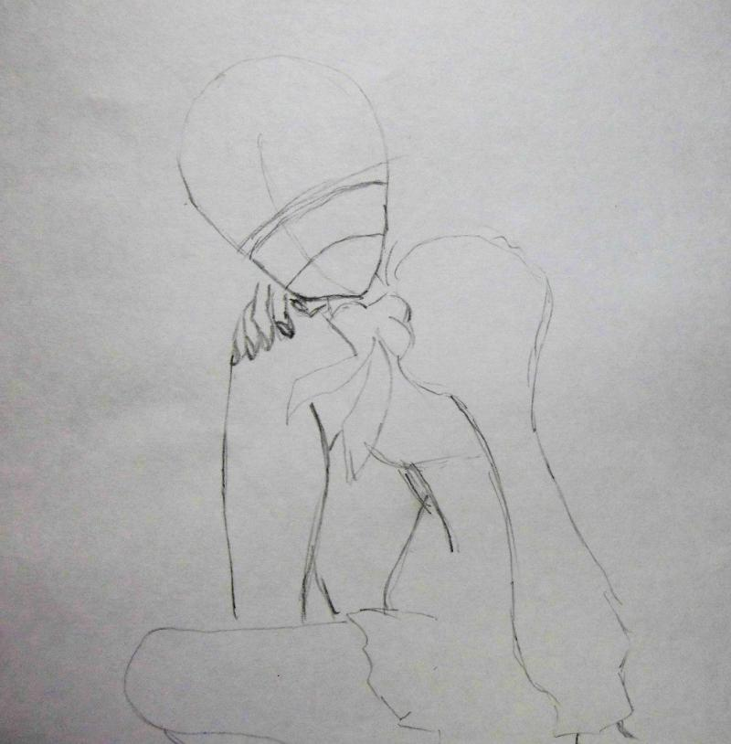 Рисуем сидящую аниме девушку - фото 1
