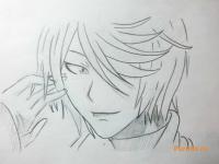 Рисунок Синдзиро Курама из аниме Очень приятно, Бог