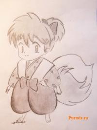 Сиппо из аниме Инуяша карандашом