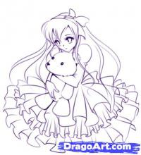 смазливую аниме девушку карандашом