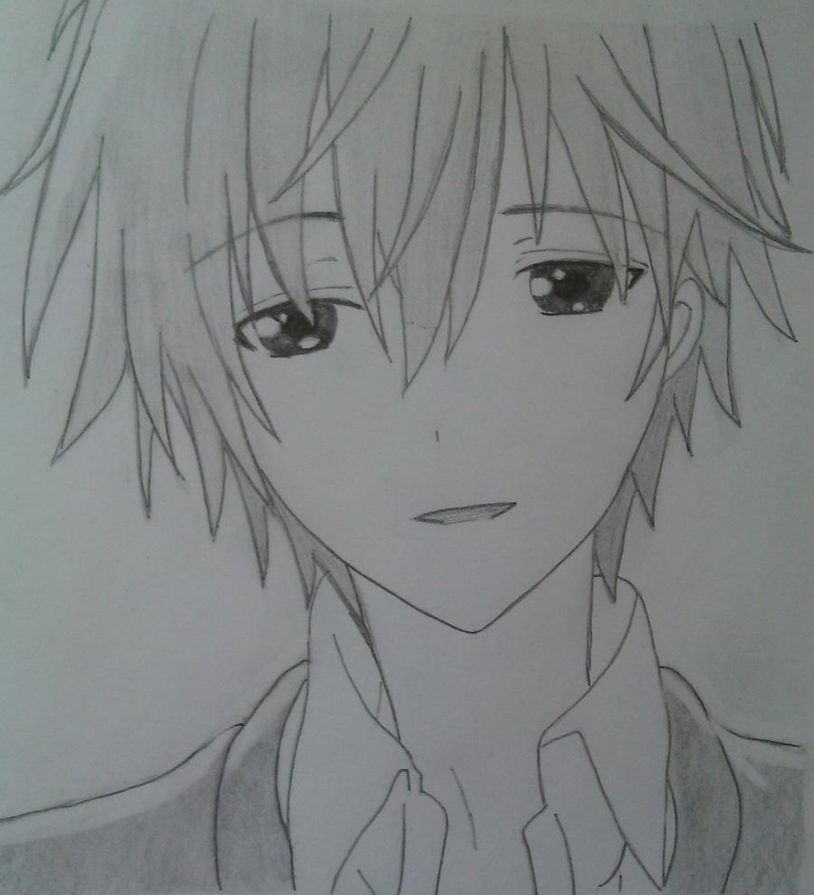 Рисуем Соши Микецуками из аниме Пес,я и секретная служба карандашами - шаг 7