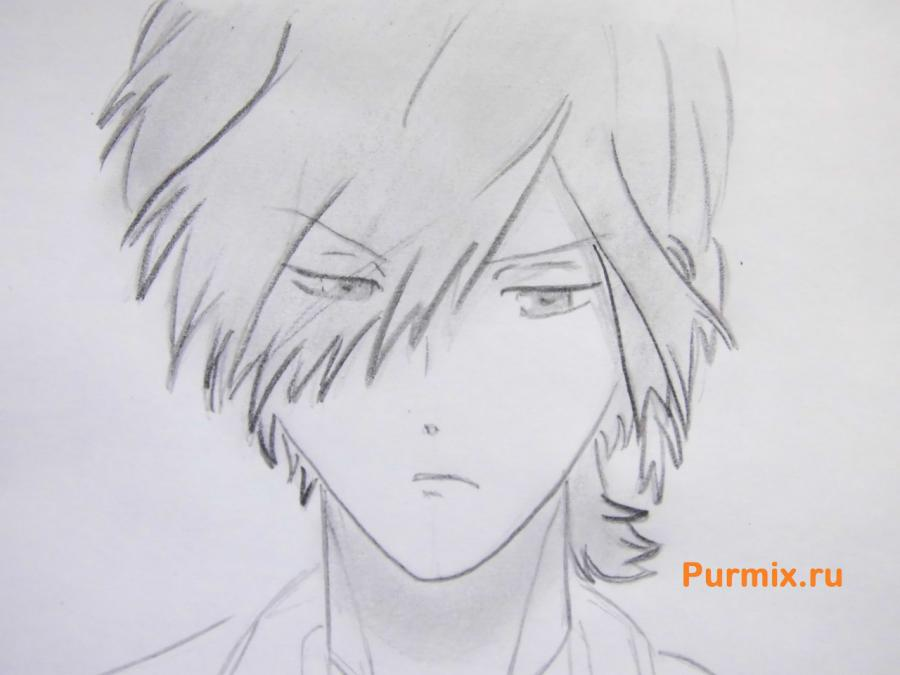 Рисуем Субару Сакамаки из аниме Дьявольские возлюбленные карандашами - шаг 6
