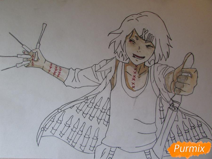 Рисуем и раскрасить Судзую Дзудзо с ножами - фото 7