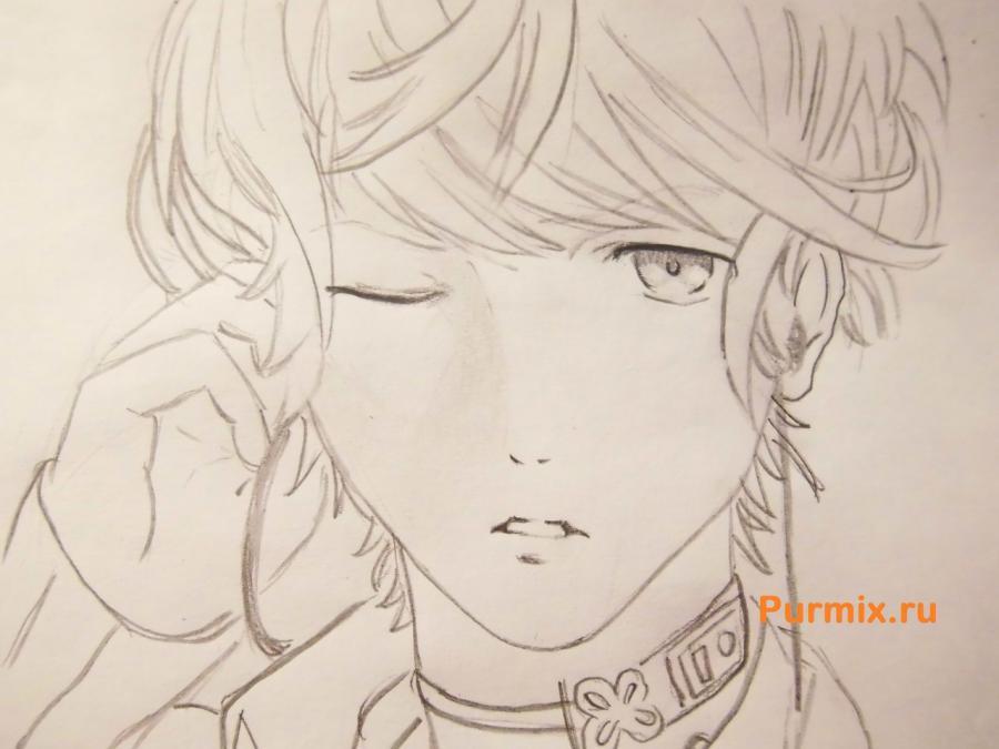 Рисуем Шу Сакамаки из аниме Дьявольские возлюбленные карандашами - фото 6