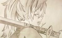 Фото Сюру Киригакурэ из аниме Blue Exorcist карандашом