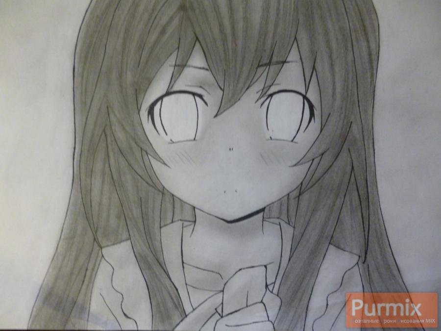 Рисуем Тайгу Айсака из аниме Торадора карндашом