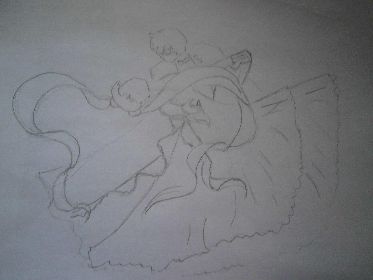 Рисуем танцующую аниме пару - фото 2