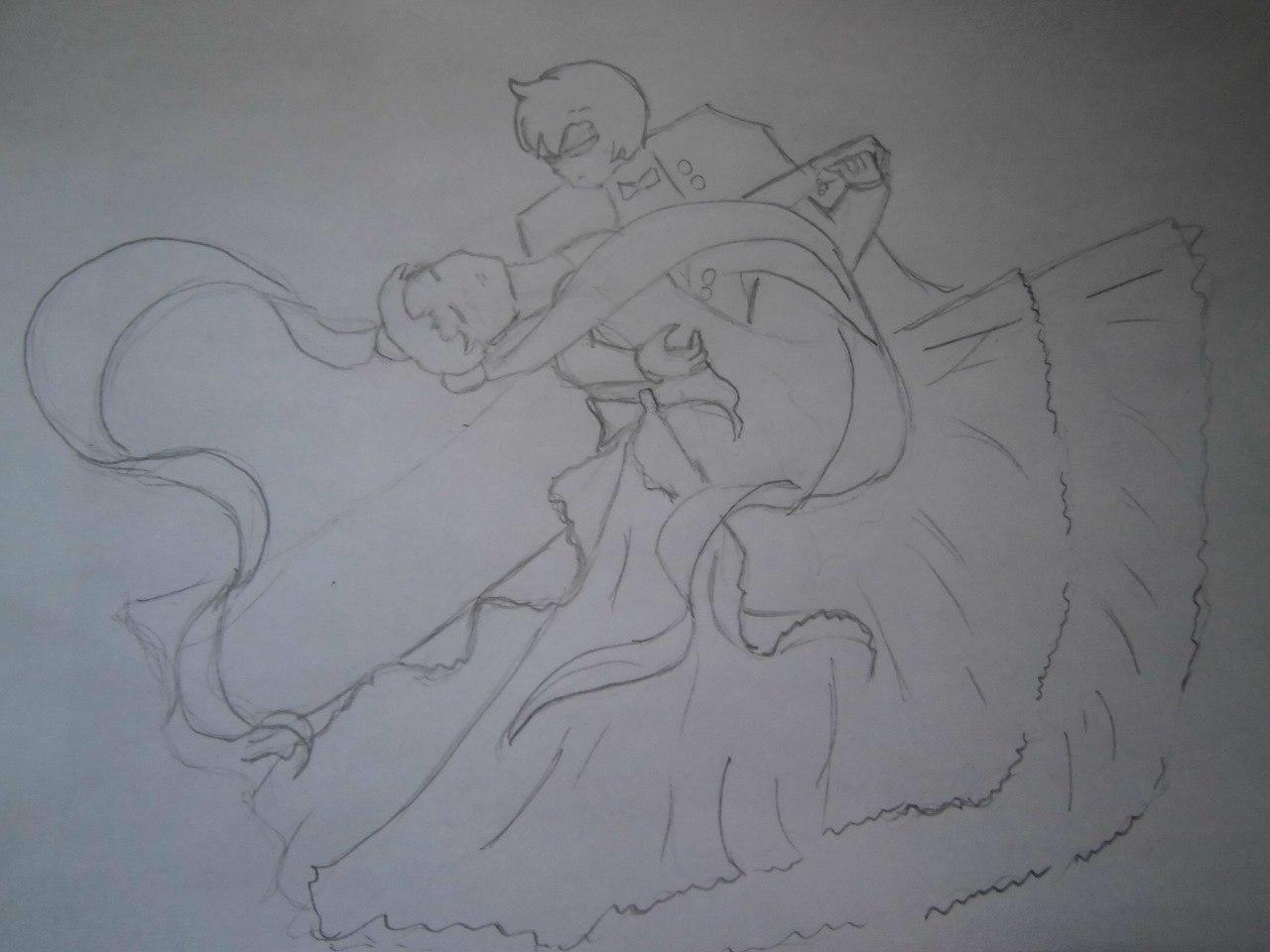 Рисуем танцующую аниме пару - фото 3