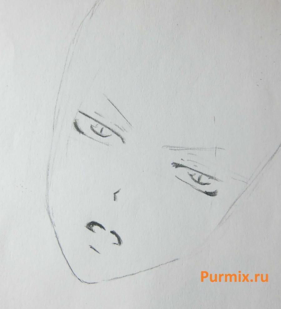 Рисуем Томоэ из аниме Очень приятно, Бог карандашами - шаг 2