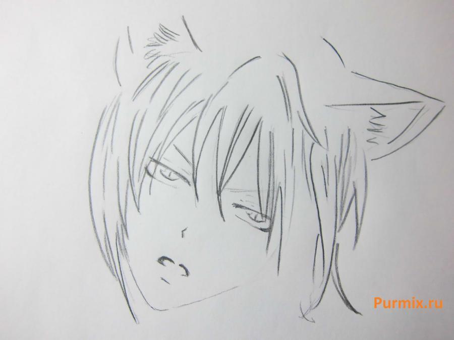 Рисуем Томоэ из аниме Очень приятно, Бог карандашами - шаг 3