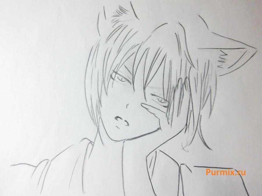 Рисуем Томоэ из аниме Очень приятно, Бог карандашами - шаг 4