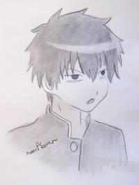 Томоки Куроки из аниме WataMote карандашом